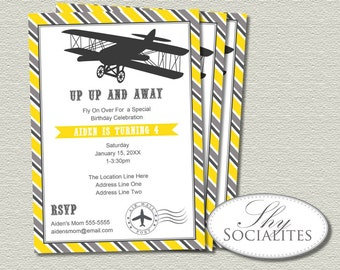 Yellow Airplane Invitations   Vintage Plane, Up Up And Away, Airplane Party, Birthday or Shower   INSTANT DOWNLOAD