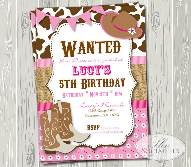 pink cowgirl party invitation birthday or baby shower, Party invitations