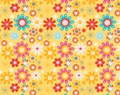 Girl Crazy flannel by Dani- Yellow Girl Floral - 1/2 yard