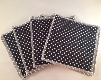 Flannel/Terry Cloth Napkins - Black and White Polka Dot