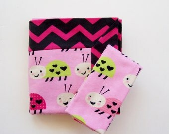 Baby Girl Double Flannel Receiving Blanket in Pink and Black Chevron with Ladybugs- FREE burp cloth, Girl Baby Blanket, Flannel Blanket