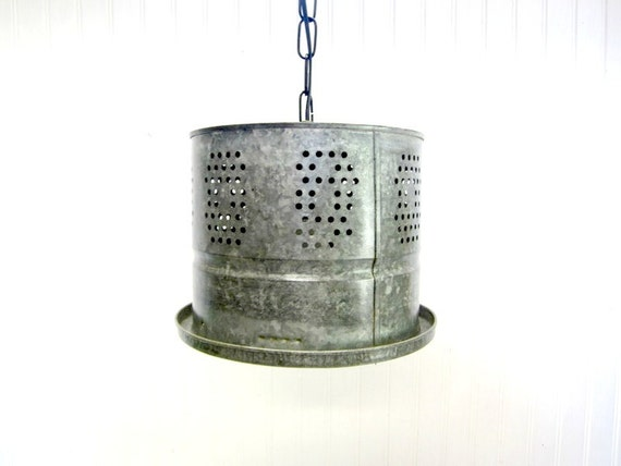 Repurposed Minnow Bucket Industrial Pendant Hanging Ceiling Light Lamp