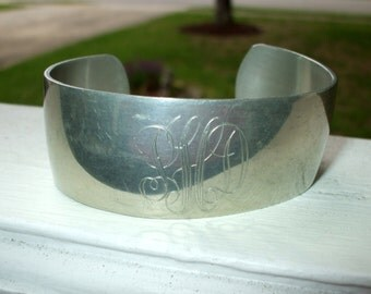 Vintage Cuff Bangle Bracelet Pewter Silver Tone Antique Victorian Monogram New England Metalcrafters