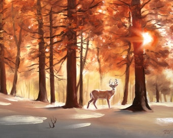 Deer wildlife animal autumn winter landscape 24x36 oils canvas by RUSTY RUST / D-153