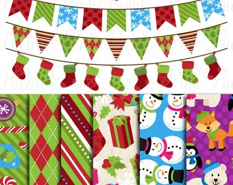 Christmas Holiday Scrapbook Paper and Bunting Clipart Clip Art, Great for Christmas Decor or Decorations - Commercial Use