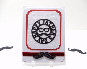 Father's Day Card  Dad Card  Embossed Card  Mustache Card Greeting Card Card For Dads Father's Day Greeting  Embellished Card