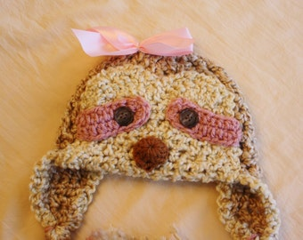 Sloth Hat - Baby Girl Sloth Hat - Simone the Sloth - Baby Hats - Sloth Costume - Newborn to Adult Size Sloth Hat - by JoJosBootique