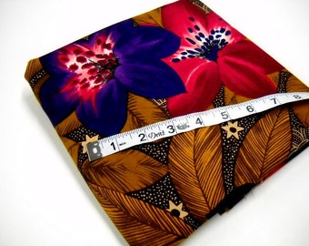 Tropical Print Mystery Fabric, 1 yard Remnant, Sewing Material, Purple Plum Rust