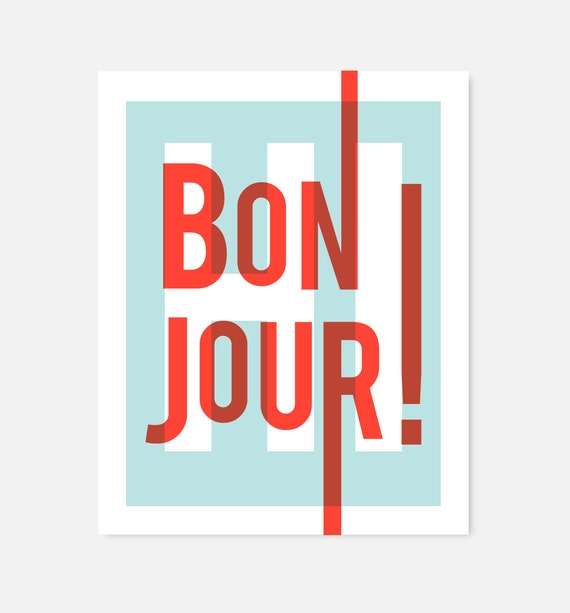 Bonjour Home Decor Art Print French Modern Typography Red