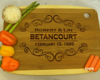 Cutting Board Personalized Custom Great Bamboo Kitchen Board Wedding Gift Groomsmen Bride Bridesmaid Groom Grandmothers Kitchen Chef Cook