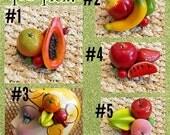 You Pick,  3 Carmen Miranda Mini Fruit Hair Clip Clusters, Retro Fruit PinUp Tropical Tiki Hairclip Fascinator by Viva Dulce Marina