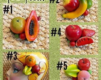 You Pick,  3 Carmen Miranda Mini Fruit Hair Clip Clusters, Retro Fruit PinUp Tropical Tiki Hairclip Fascinator by Viva Dulce Marina