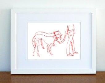 Print, Art Print, Wall Decor, Wall Art, Illustration Print, Ink Drawing,Red Ink Afghan Hound Drawing - print 8x11.5 inch (21x29.5 cm)
