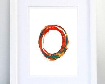 Print, Art Print, Wall Decor, Wall Art, Illustration Print, Orange Red Blue Ink Drawing, Letter O, print 8x11.5 inch (21x29.5 cm)