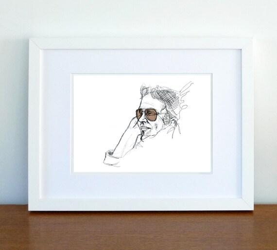 Print, Art Print, Wall Decor, Wall Art, Illustration Print, Digital Print, Fashion Pencil Portrait Rayban man, print 8x11.5 inch