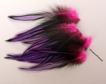 Purple Pink Rooster Feathers Rainbow Feathers Laced Ombre Supplies for Crafts Feather Crafting Decorative Feathers 10 Pack 4-5inch