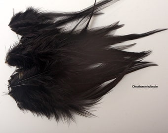 Rooster Feathers for Crafts Jet Black Colored Rooster Saddle Black Craft Feathers Boho Art Supplies Mask Making Feathers Indie Supplies, 24
