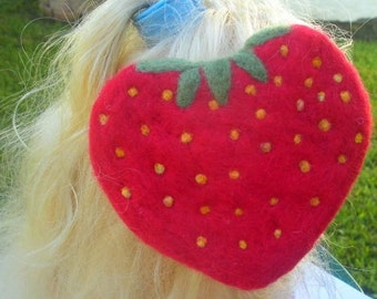 Needle Felted Strawberry Hair Clip Fascinator