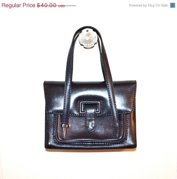 ON SALE 50% OFF Vintage Mid Century Dark Navy Leather Handbag, By Abraham & Straus