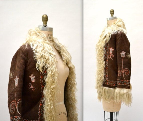 Vintage Embroidered Shearling Afghan Jacket Coat XS Small//