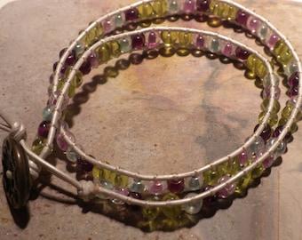 Silk Wrapped Beaded Bracelet 6