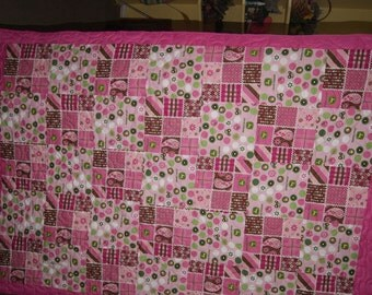 Tractor Pink Pieced Quilt