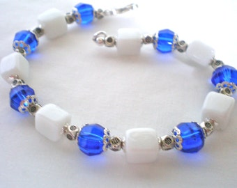 Blue and White Bracelet, Colorful Bright Blue Jewelry, Women's Bracelet, Blue and Silver Jewelry, One-of-a-kind Bracelet, Casual Jewelry