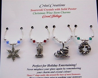 Good Tidings - Pewter Christmas wine charms with Swarovski crystals