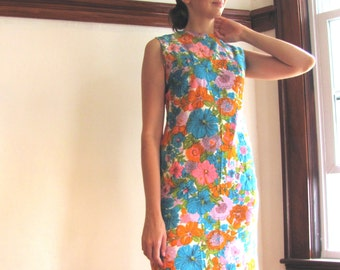 1960s Floral Cotton Sheath Dress / The Summer Garden Dress