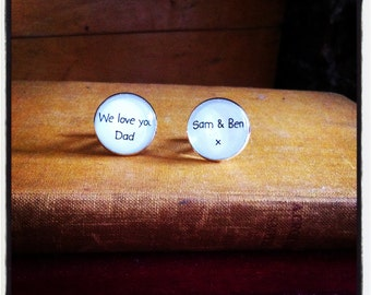 Fathers day silver plated cufflinks