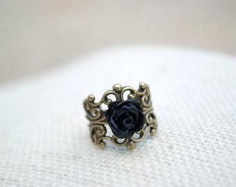 Mini Me Black Rose Ring