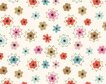 Flower Dots in White (2189-01) - BEAUTIFUL GARDEN GIRL - Tea and Sympathy for Studio e Fabric  - 1 Yard
