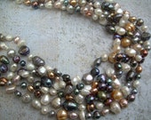 Necklace of luxurious pearls, 6 strands, freshwater, peach, salmon, blue gray, white