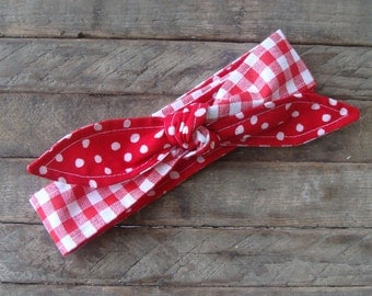 Reversible Rockabilly Skinny Headband Red Gingham over Red and White Polka Dots Skinny Headbands Teen Women Hair Accessory