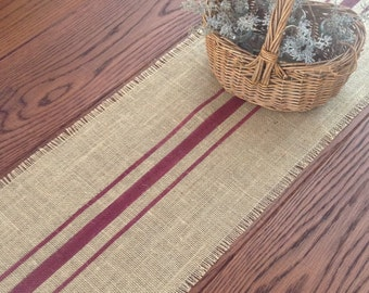 Burlap Table Runner Rustic 10-14 by 48 or 60 Merlot Striped Farmhouse Tablerunner by sweetjanesplan