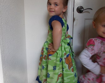 Custom Made to order Scooby Doo Dress with straps that tie in back