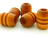 Vintage Wood Beads - grooved barrel - tan light brown - 4 pieces