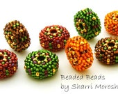 Beaded Bead Pairs - 16mm discs-  autumn holiday red green gold brown orange