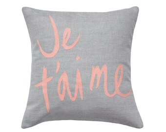 Je T'aime Pillow, Soft Grey and Coral