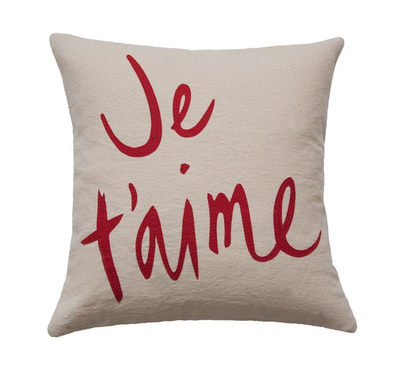 Je T'aime Pillow, Organic Cotton, Oatmeal and Red - 12x12 inches