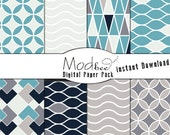 "Digital Paper 8 PACK - Geometric Turquoise, Navy, Grey, Cream and Neutral (300 dpi) -- 8 designs - 12"" by 12"" Instant Download (010)"
