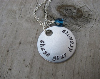 """Inspiration Necklace- """"chase your dreams"""" with an accent bead of your choice- Hand-Stamped Jewelry"""