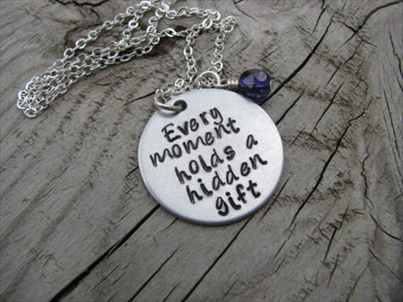 """Inspiration Necklace- """"Every moment holds a hidden gift"""" with an accent bead in your choice of colors"""