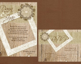 Rustic Wedding, Lace Wedding, Vintage Wedding, Western Wedding, Wood Wedding Invitation,