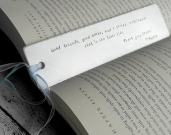 Personalized Bookmark - hand stamped with phrase or quote of your choice