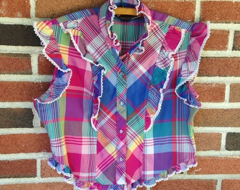Vintage 70s 80s Western Plaid Ruffle Lace Trim Top
