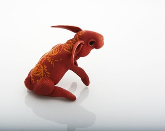 Mehendi inspired rabbit #4. Polymer clay miniature by Madre Olius.