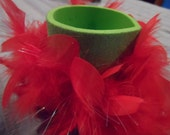 Can Cozy, Koozie Can Holder, Bottle Holder, Glitter and Feather , Red and Green