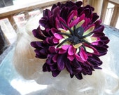Large Purple and Yellow Flower with Glitter Spider Hair Clip, Halloween Accessory