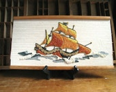 Mid Century Pebble Art Nautical Decor Ship Gravel Art Wall Hanging